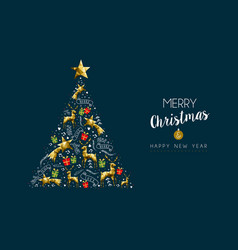 christmas and new year gold luxury pine tree card vector image vector image
