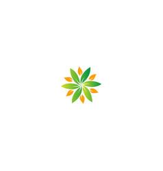 Circle green leaf nature logo vector