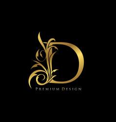 Classy gold elegant letter d graceful style vector