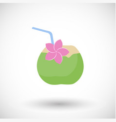 coconut cocktail flat icon vector image