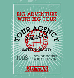 color vintage tour agency banner vector image