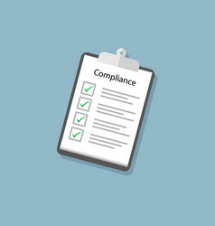 Compliance concept with clipboard and tick marks vector