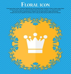 Crown icon sign Floral flat design on a blue vector