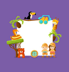 cute african animals and kids in safari outfit vector image