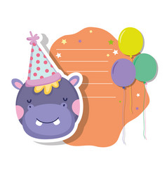 Cute and little hippo character with party hat vector