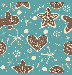 cute winter seamless pattern with gingerbread vector image