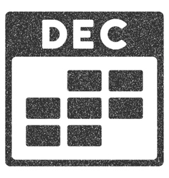 December Calendar Grid Grainy Texture Icon vector