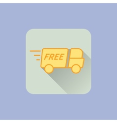Delivery Truck Icon With free sign on blue vector