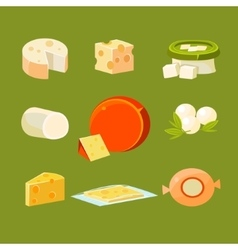 Different Types of Cheese Set vector