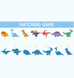 Dinosaur shadow matching game vector