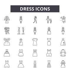 dress line icons signs set outline vector image