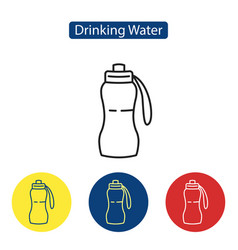 Drinking water fit icons vector