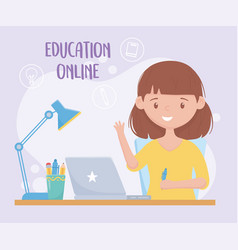 Education online student girl with pen laptop and vector
