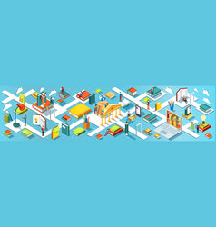 education panoramic banner isometric flat design vector image