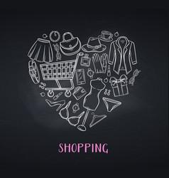 fashion shopping banner blackboard style vector image