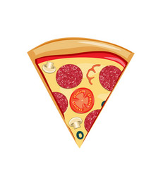 fast food pizza slice icon delivery toppings vector image
