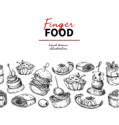Finger food drawing catering service vector