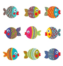 Fish Collection colorful Graphic Cartoon vector