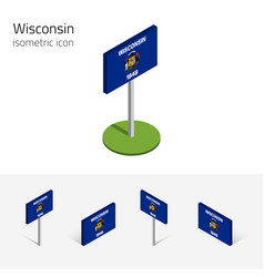 Flag wisconsin usa 3d isometric flat icon vector