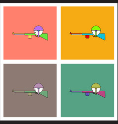 Flat icon design collection soldier with rifle vector