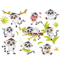 flat set of cute lemur in different actions vector image
