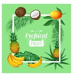 Frame with tropical fruits and leaves Design for vector image