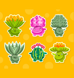 funny fantasy plants characters collection cute vector image
