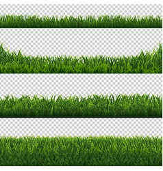 green grass borders set transparent background vector image