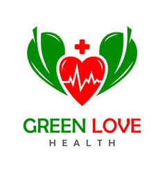 green love health logo vector image