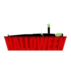 Halloween zombie in coffin draws hand vector