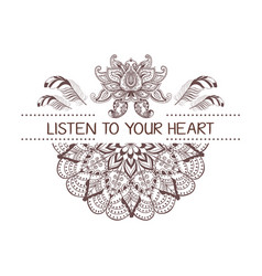Hand drawn boho style design with mandala lotus vector