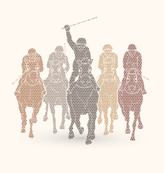 Horse racing jockey riding horse vector