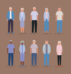 Isolated grandmothers and grandfathers vector