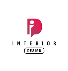 Letter I and D monogram logo Interior design vector
