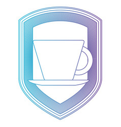 logo shield decorative of cup of coffee with vector image