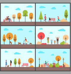 man and woman sitting on bench of park in autumn vector image