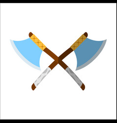 Medieval axe icon and label flat style logo vector