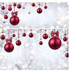 New year backgrounds with pink christmas balls vector