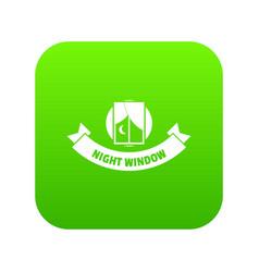 night window icon green vector image