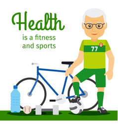 old man and sport equipments lifestyle concept vector image