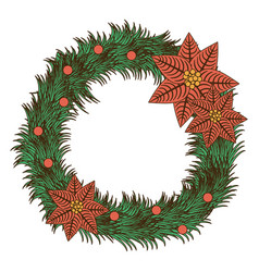 opaque color pine arch with poinsettia christmas vector image