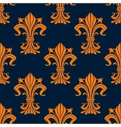 Orange and blue fleur-de-lis seamless pattern vector