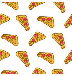 pizza slice seamless pattern cartoon vector image