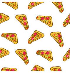 pizza slice seamless pattern cartoon vector image