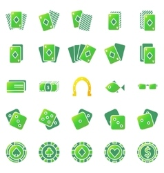 Poker or casino icons set vector image