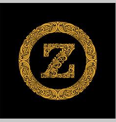 premium elegant capital letter z in a round frame vector image