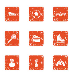 Prevent icons set grunge style vector