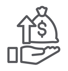 Raising funds line icon money and increase money vector