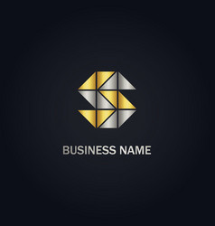 S initial triangle gold logo vector