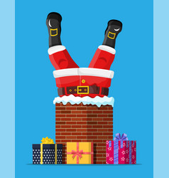 Santa claus with gifts stuck in house chimney vector
